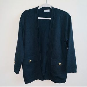 Vintage Aquascutum Black Wool Open Cardigan